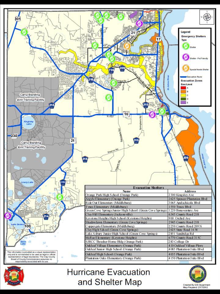 Camp Blanding Florida Map.Hurricane Evacuation Map Orange Park Country Club Neighborhood In