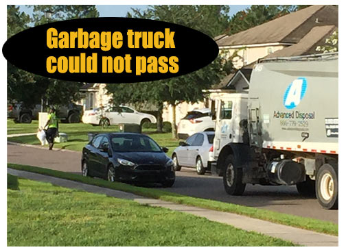 Garbage truck cannot pass