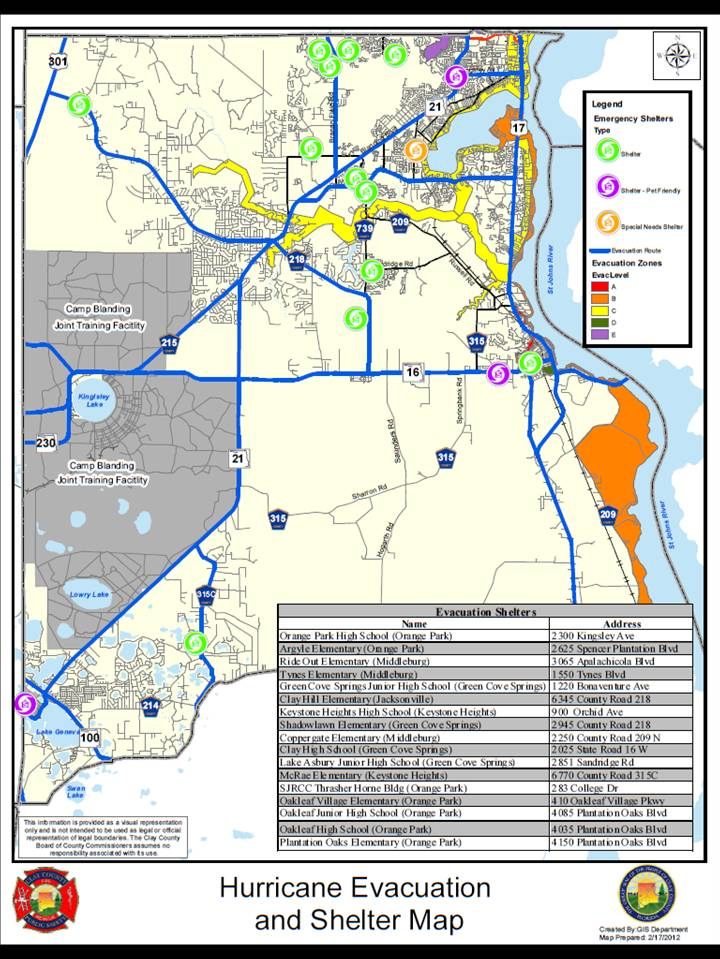 Camp Blanding Florida Map.Hurricane Evacuation Map Orange Park Country Club Neighborhood In